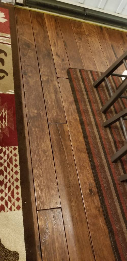 DIY Farmhouse Wide Plank Floor Made From Plywood - Distressed Floor - The stained plywood floors are perfect for that farmhouse look