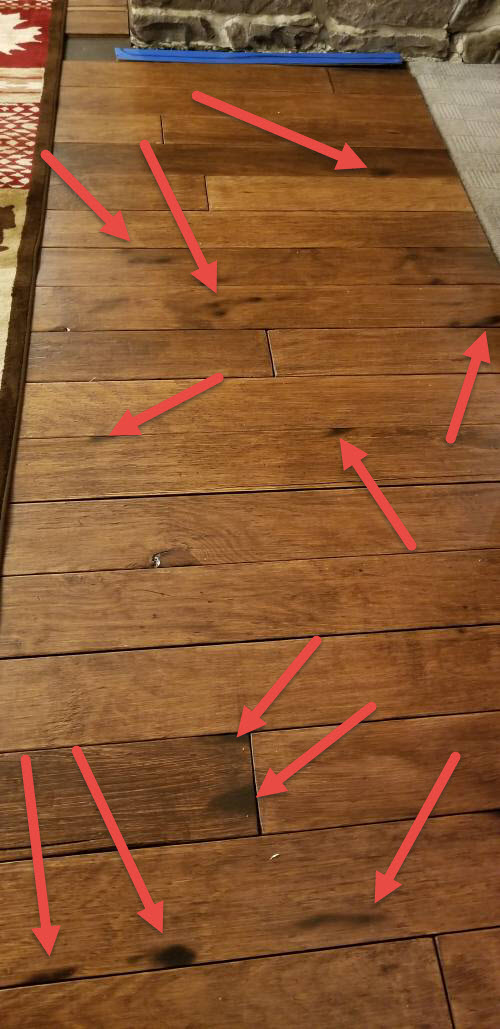 DIY Farmhouse Wide Plank Floor Made From Plywood - burned plywood floors from the propane torch