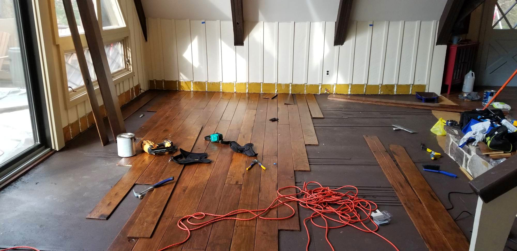 DIY Farmhouse Wide Plank Flooring Made From Plywood - The Plywood Floor Finished - Starting The Plywood Flooring Install
