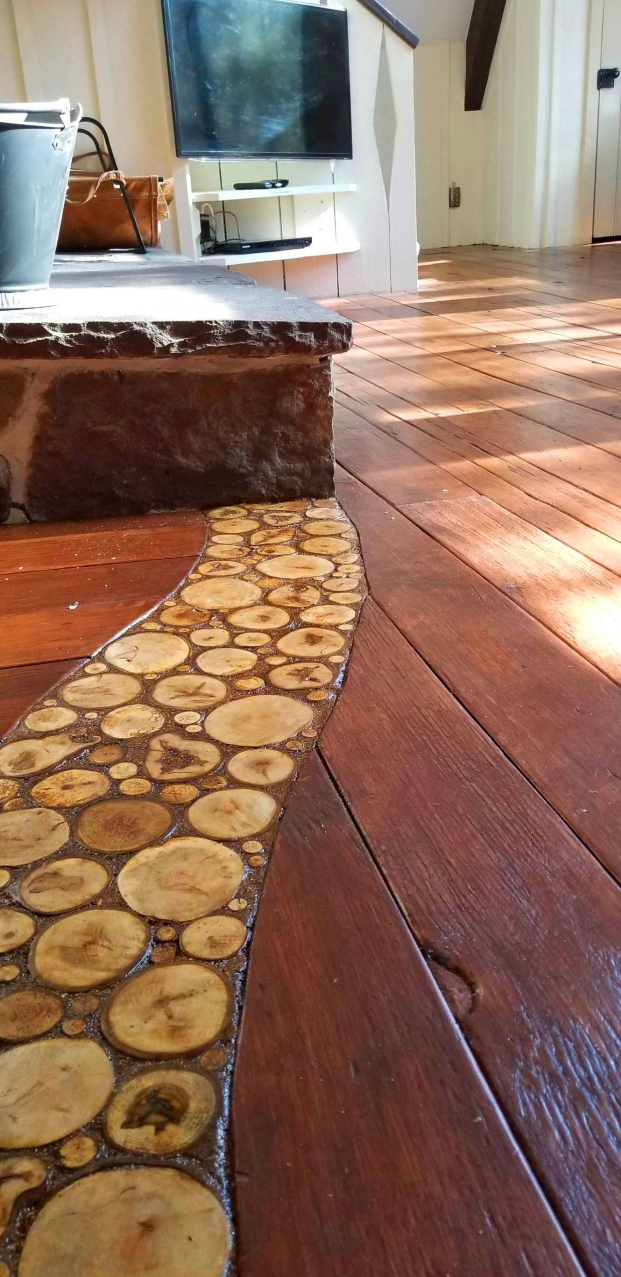 Installing An End Grain Flooring Inlay - End Grain flooring Inlay toward the fireplace