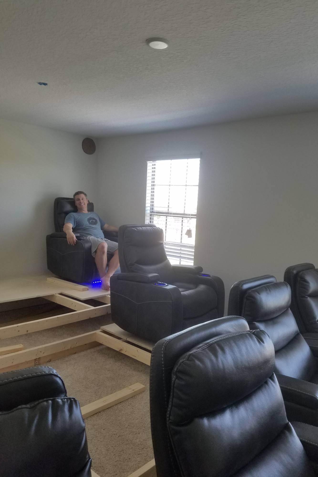 Testing The Home Theater Seating Layout With The Height Of The Risers
